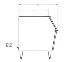Dimensiones máquina de hielo con depósito Kold Draft